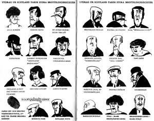 """Det ursprungliga skurkgalleriet - Tecknat av Åke Lewerth i """"Agaton Sax och det gamla Pipskägget"""" från 1961."""