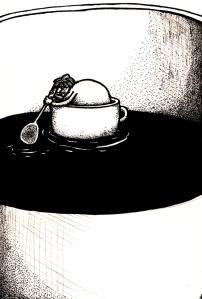 kaffelund i kaffesjö liten
