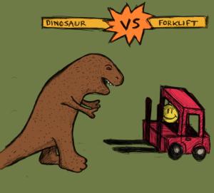 Förhistoriska djur som slåss med vildsinta gaffeltruckar! Kan det bli mer spännande?